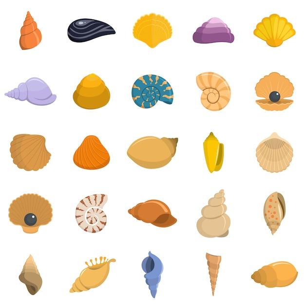 Conjunto de ícones de concha do mar vetor isolado Vetor Premium