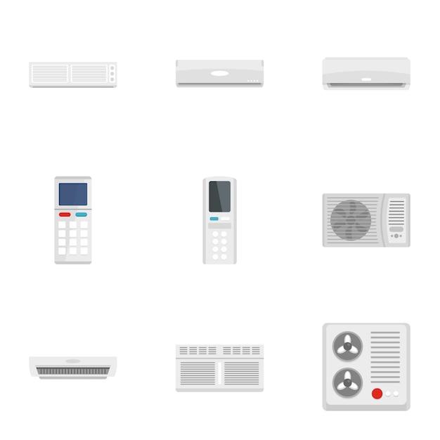 Conjunto de ícones de condicionador de ar. conjunto plano de 9 ícones de condicionador de ar Vetor Premium