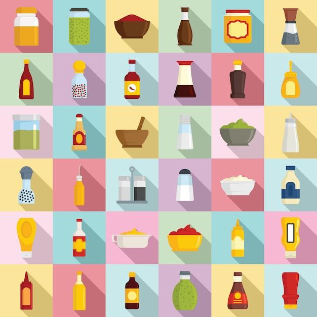 Conjunto de ícones de condimento Vetor Premium