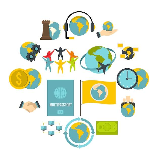 Conjunto de ícones de conexões globais em estilo simples Vetor Premium