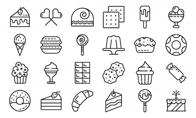 Conjunto de ícones de confeitaria, estilo de estrutura de tópicos Vetor Premium