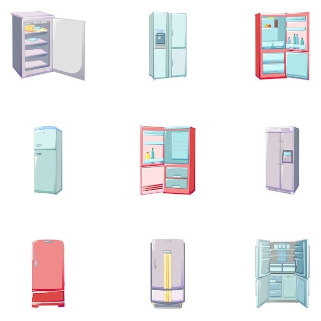 Conjunto de ícones de congelador, estilo cartoon Vetor Premium