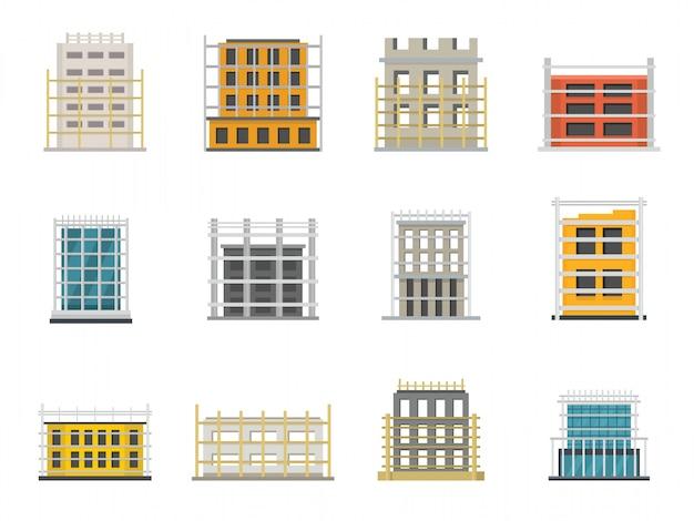 Conjunto de ícones de construção de andaimes Vetor Premium