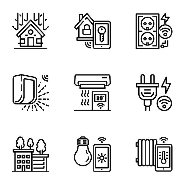 Conjunto de ícones de construção inteligente. contorno definido de 9 ícones de construção inteligente Vetor Premium