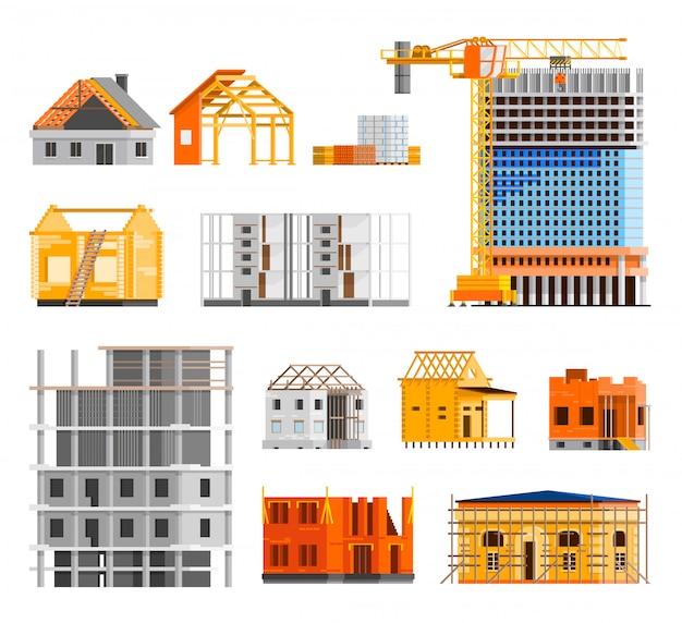Conjunto de ícones de construção Vetor grátis