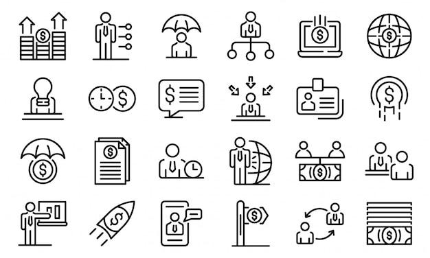 Conjunto de ícones de consultor financeiro, estilo de estrutura de tópicos Vetor Premium
