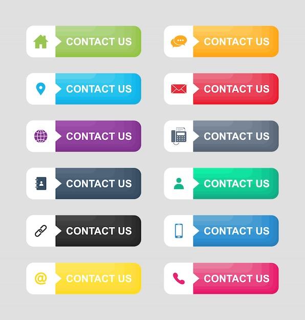 Conjunto de ícones de contato nos botão isolado no fundo branco. Vetor Premium
