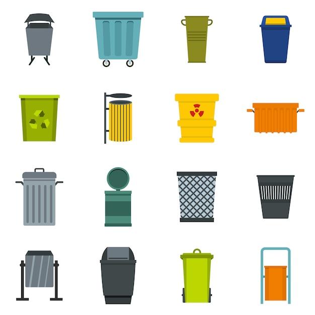 Conjunto de ícones de contêiner de lixo em estilo simples Vetor Premium