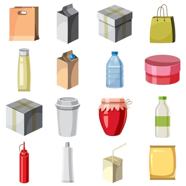 Conjunto de ícones de contêiner de pacote, estilo cartoon Vetor Premium