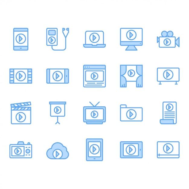 Conjunto de ícones de conteúdo de vídeo Vetor Premium