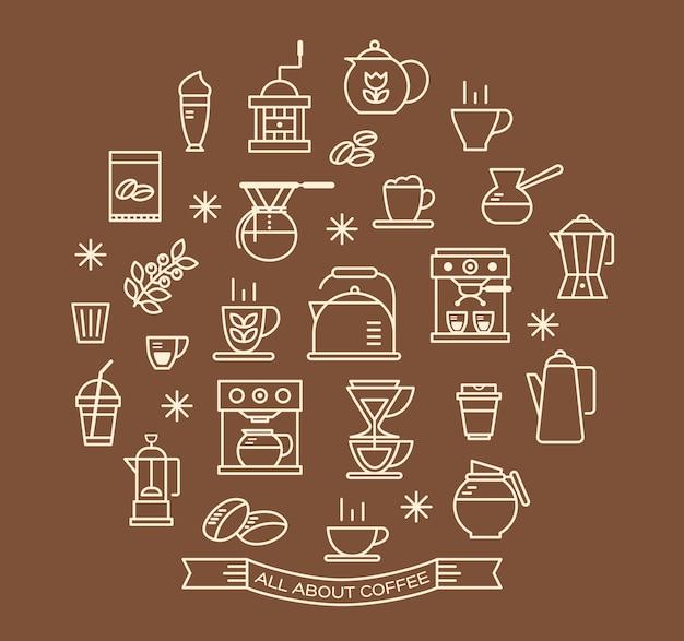 Conjunto de ícones de contorno de café Vetor Premium