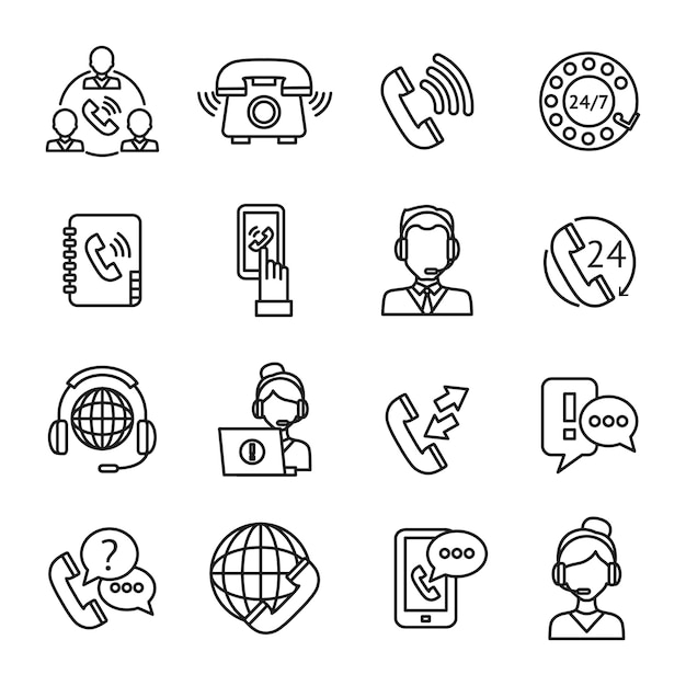 Conjunto de ícones de contorno de centro de chamada Vetor grátis