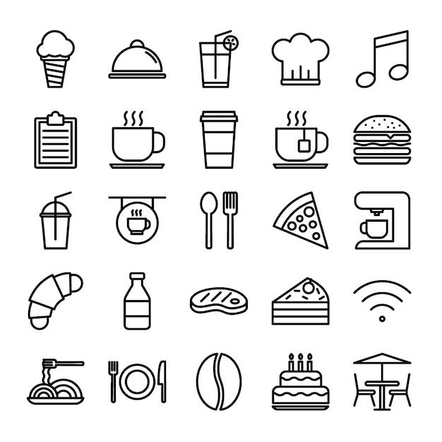 Conjunto de ícones de contorno de restaurante Vetor Premium