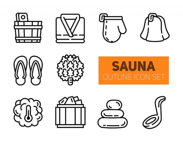 Conjunto de ícones de contorno de sauna e balneário. Vetor Premium
