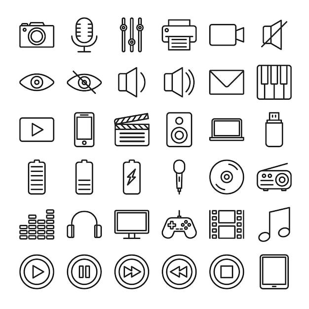 Conjunto de ícones de contorno multimídia Vetor Premium