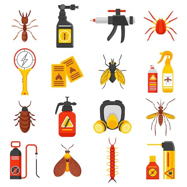 Conjunto de ícones de controle de pragas Vetor grátis