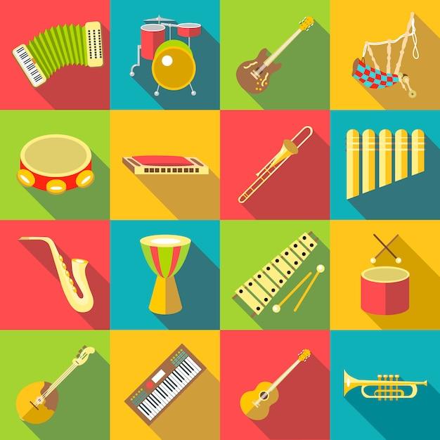 Conjunto de ícones de cor de instrumentos musicais, estilo simples Vetor Premium