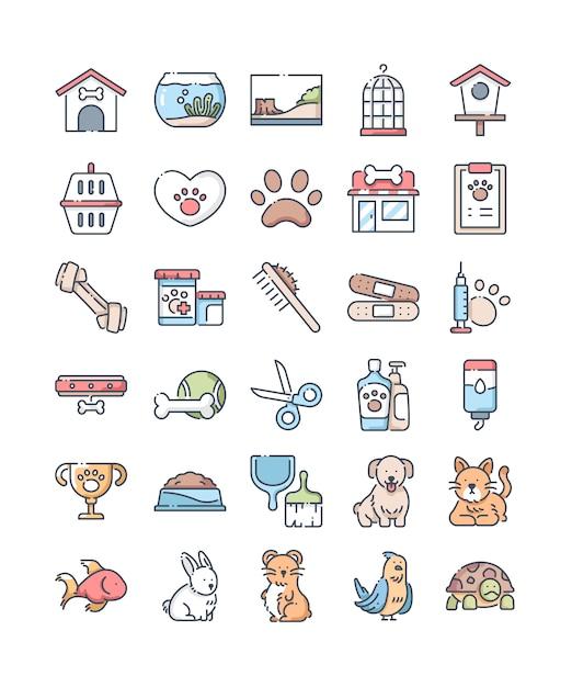 Conjunto de ícones de cor de linha de loja de animais de estimação Vetor Premium