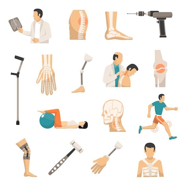 Conjunto de ícones de cor de ortopedia Vetor grátis