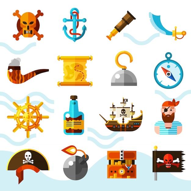 Conjunto de ícones de cor de piratas Vetor grátis