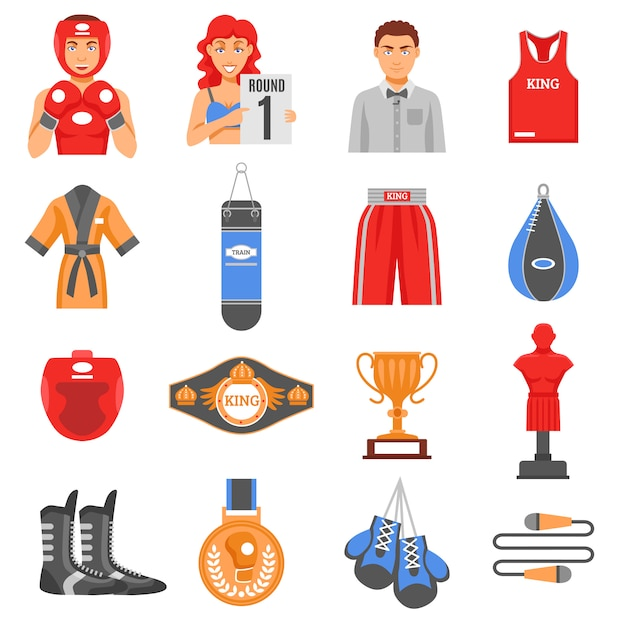 Conjunto de ícones de cor plana de munições de boxe Vetor grátis