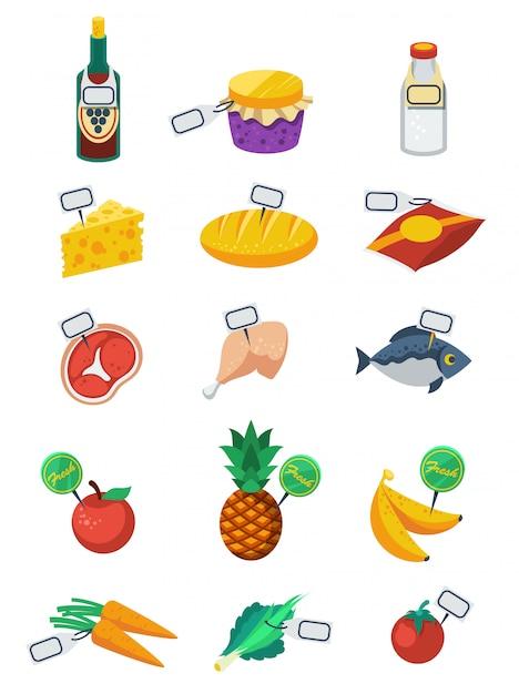 Conjunto de ícones de cor plana de supermercado Vetor grátis