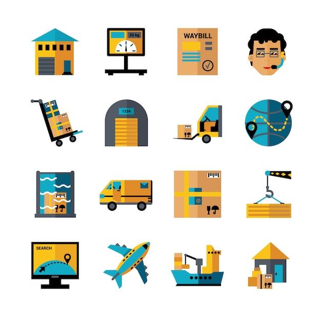 Conjunto de ícones de cores de logística Vetor Premium