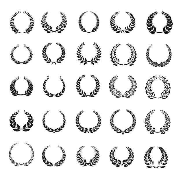Conjunto de ícones de coroa de louro Vetor Premium