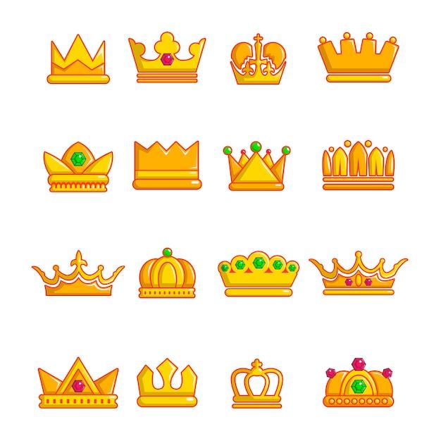Conjunto de ícones de coroa de ouro Vetor Premium
