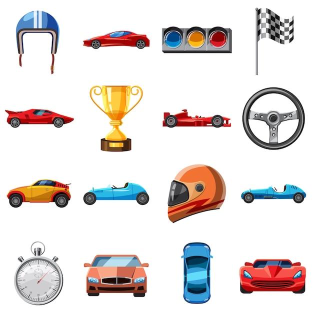 Conjunto de ícones de corrida, estilo cartoon Vetor Premium
