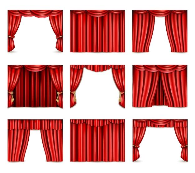 Conjunto de ícones de cortina de teatro Vetor grátis