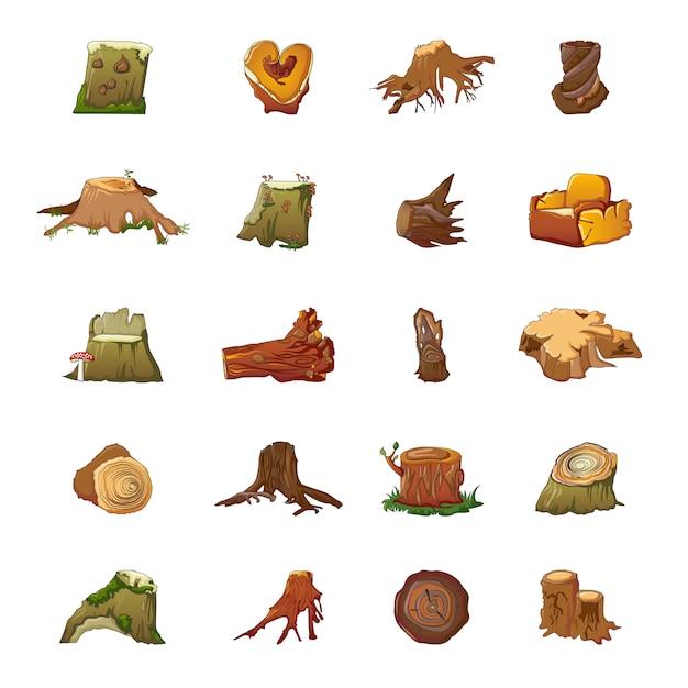 Conjunto de ícones de cotoes, estilo cartoon Vetor Premium