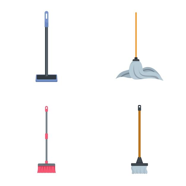Conjunto de ícones de cotonete de limpeza esfregão Vetor Premium
