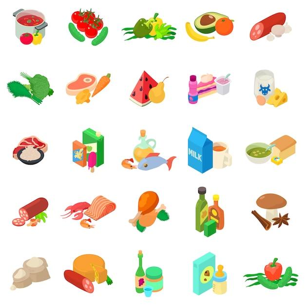 Conjunto de ícones de cozinha do mundo Vetor Premium