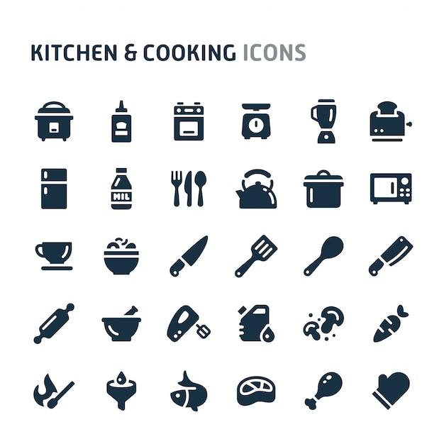 Conjunto de ícones de cozinha e culinária. série de ícone preto fillio. Vetor Premium
