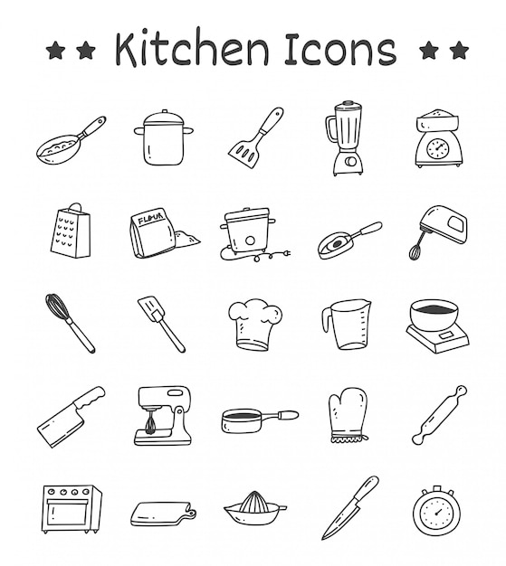 Conjunto de ícones de cozinha em estilo doodle Vetor Premium