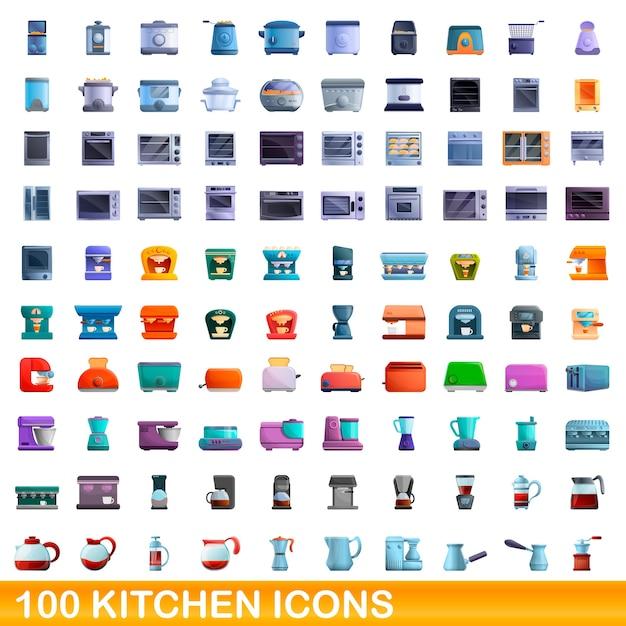 Conjunto de ícones de cozinha. ilustração dos desenhos animados de ícones de cozinha em fundo branco Vetor Premium