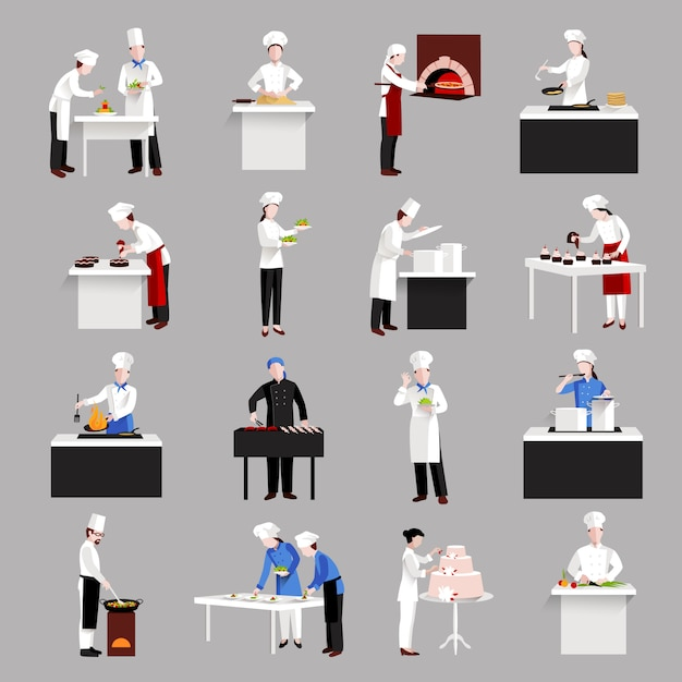 Conjunto de ícones de cozinha Vetor grátis