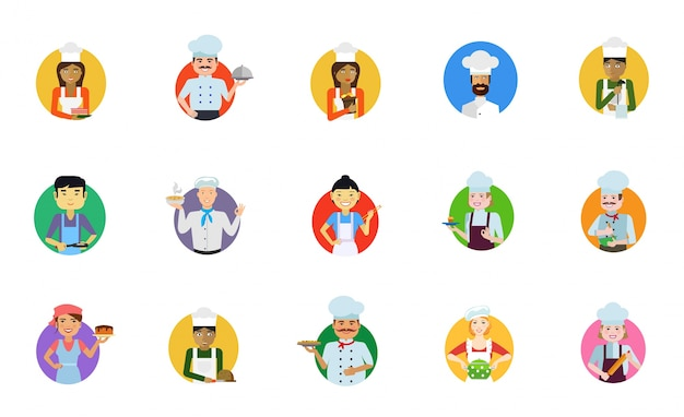 Conjunto de ícones de cozinhar pessoas Vetor grátis