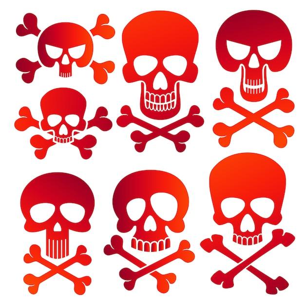 Conjunto de ícones de crânios humanos perigo cores crânios Vetor Premium
