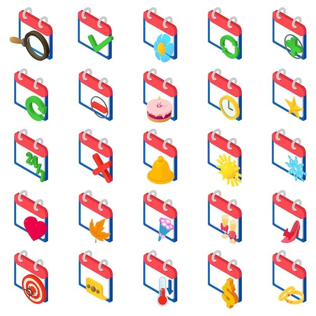 Conjunto de ícones de cronologia Vetor Premium