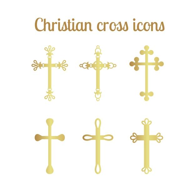 Conjunto de ícones de cruz dourada Vetor Premium