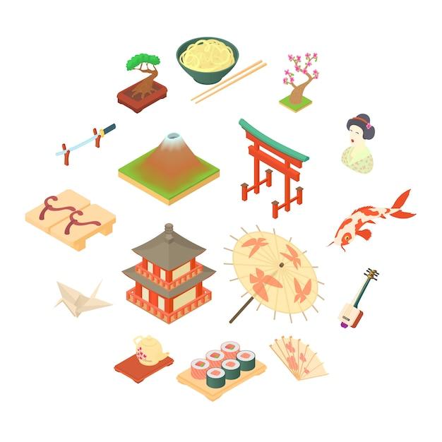 Conjunto de ícones de cultura tradicional da china, estilo cartoon Vetor Premium