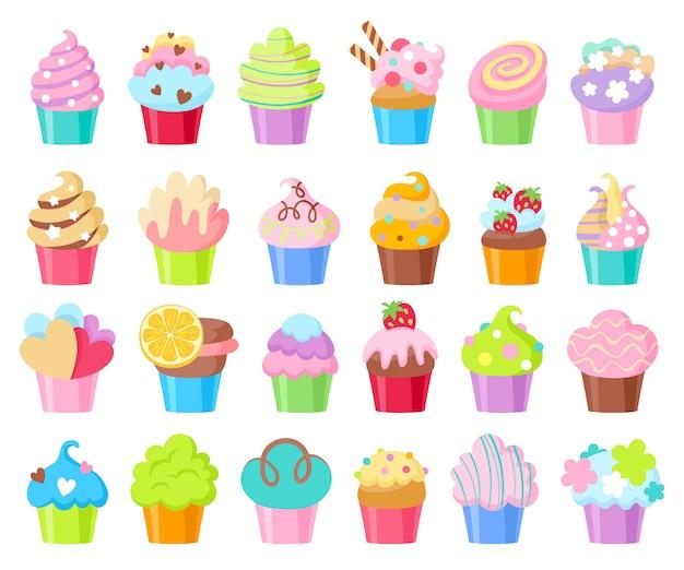 Conjunto de ícones de cupcakes. Vetor Premium