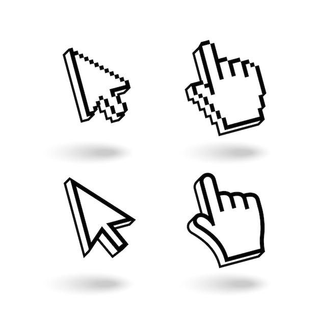 Conjunto de ícones de cursores de pixel Vetor grátis