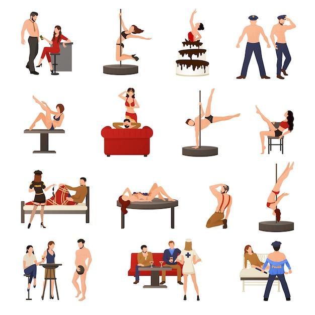 Conjunto de ícones de dançarina exótica Vetor grátis