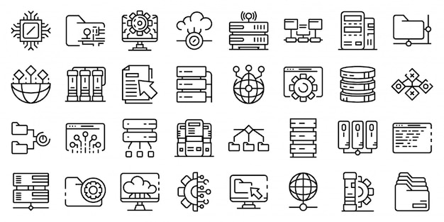 Conjunto de ícones de data center, estilo de estrutura de tópicos Vetor Premium