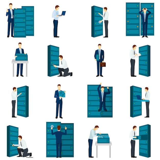 Conjunto de ícones de datacenter plana Vetor grátis