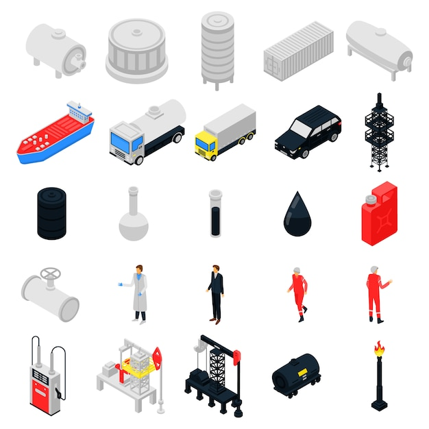 Conjunto de ícones de derrick, estilo isométrico Vetor Premium