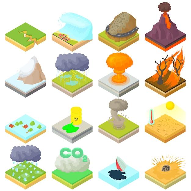 Conjunto de ícones de desastre natural em estilo 3d isométrico Vetor Premium
